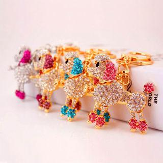 Rhinestone Bling Gold Tone Key Chain Purse Charm Poodle Cute Crystal Dog Puppy