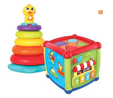 Baby Activity Center Flashing Baby Stack Toys with Shape Color Sorting Alphabet Activity Cube Music