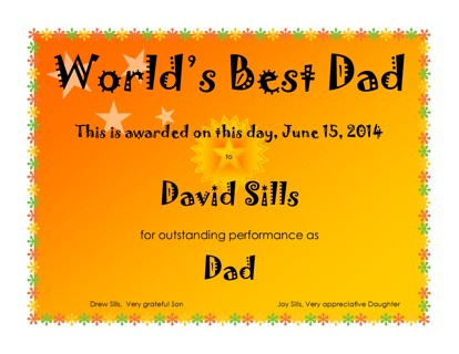 free world s best dad certificate diy fathers day present other