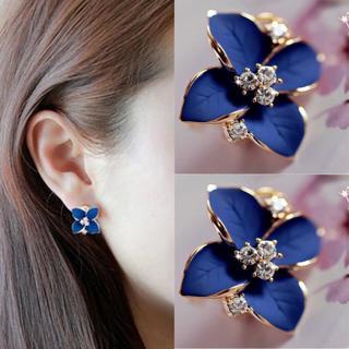 Fashion Elegant Women Cute Blue Flower Charm Crystal Ear Stud Earrings New
