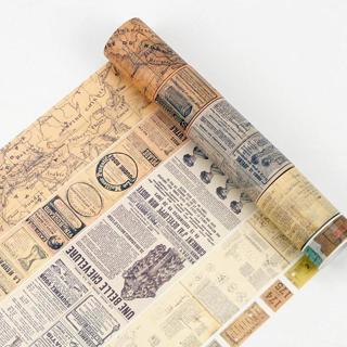 Creative Retro Newspaper Map Gothic Decorative Adhesive Tape Washi Tape DIY Scrapbooking Masking T