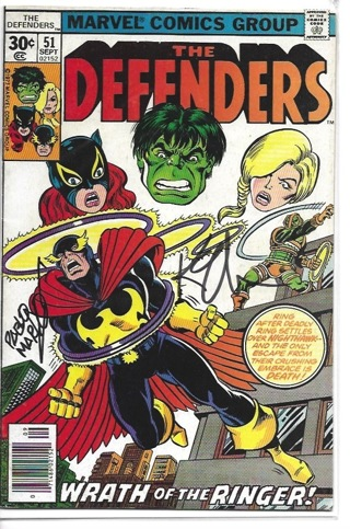 The Defenders#51 Marvel Comic Signed on the front cover by Keith Giffin and Pablo Marcos