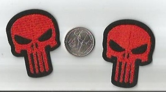 PUNISHER Red Skull Logo IRON On Patches Clothing Embroidery Decoration Patch FREE SHIPPING