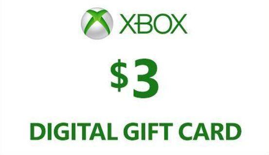 NEW Xbox $3.00 E Gift Card Online Game Code xbox 360 x-box one Egiftcard gift card Microsoft $3