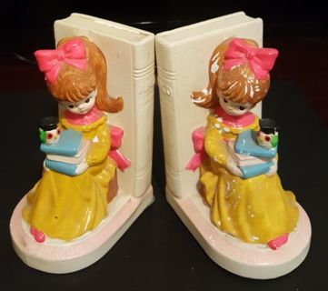 Pair of Antique Vintage Little Girl Bookends with Owl Made in Japan Free Shipping