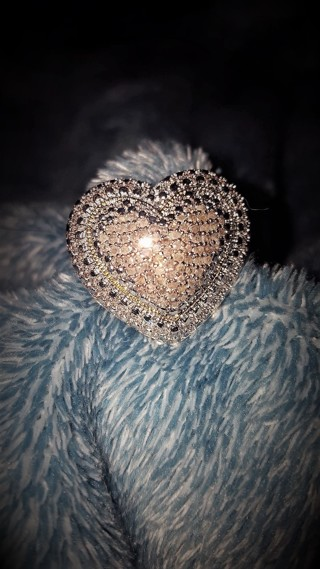 Large Chunky Puffed Heart Natural Pave Diamond Ring