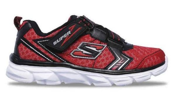 Skechers Advance Power Tread No Tie Z Strap Shoes Red/Black Boys 4