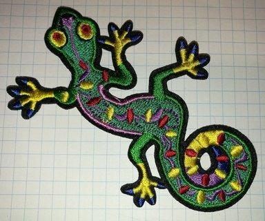 Lizard Gekko Salamander Retro Hippie Embroidered Iron On Patch