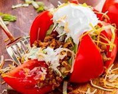 taco stuffed tomato recipe+ 2 bonus recipes