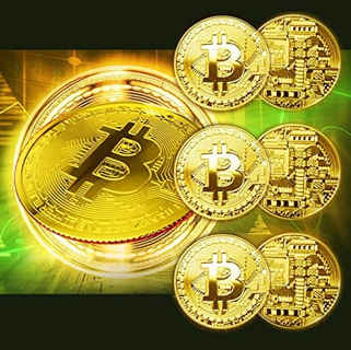 (6-PACK) Bitcoin Coins Commemorative Blockchain Cryptocurrency Collectors Gold Plated & Cases FREE S