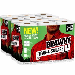 Brawny Tear-A-Square Paper Towels, 12 Rolls, 12 = 24 Regular Rolls
