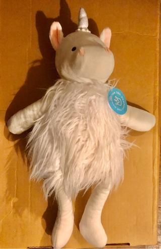 "BNWT 12"" White Stuffed Unicorn Doll. Store Promotional Item"
