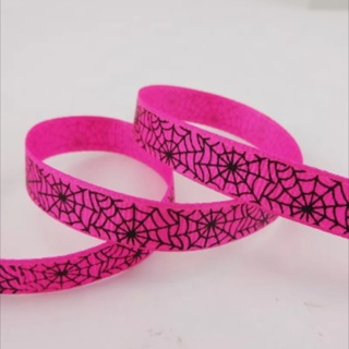 "Pink with Black Spider Web 3/8"" Grosgrain Ribbon 1 Yard NEW"