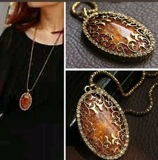 Amber hollow pendant long chain necklace