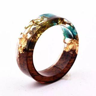 Handmade Secret New Wood Resin Ring Flowers Plants Inside Jewelry New Novelty Wood Ring