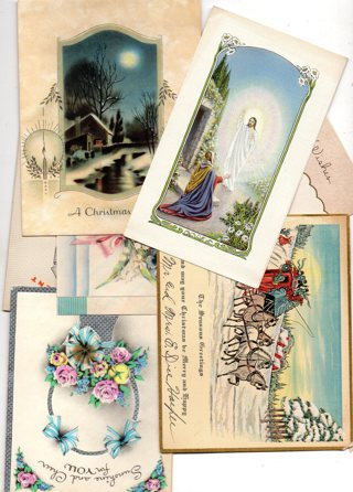 Random Lot of 5 Vintage Used Greeting Cards early 1900's to mid 1900's