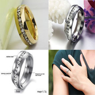 Engagement Band Sz4-15 CZ Couple Wedding Ring Titanium