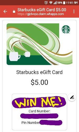 $5 Starbucks Egift Card. Sent via email within 12 hours of auction ending!!!