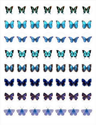 Blue Butterflies Bottle Cap Image pack digital file EMAILED