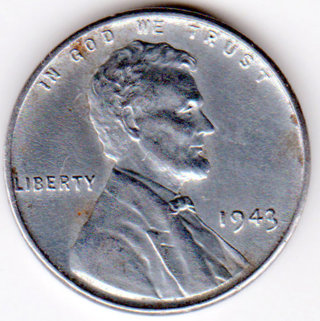 """1943 Steel Lincoln Wheat Penny U.S. One Cent Coin. """"Steelie"""""""
