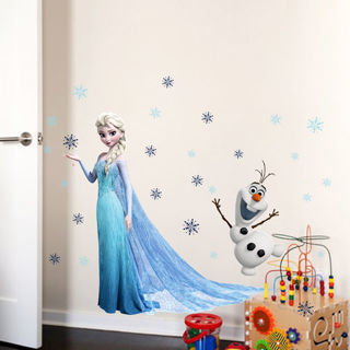 Removable Frozen Elsa & Olaf Wall Stickers Princess Mural Decal Kids Room Decor