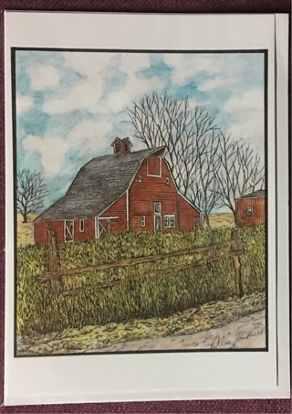"Red Barn with Fence - 5 x 7"" art card by artist Nina Struthers - GIN ONLY"