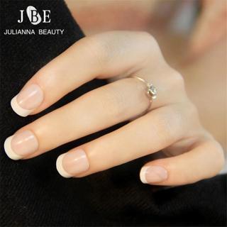 24 PCS French Nail Tips New Girls/Bride ABS Decorated False Nail With Glue Fake Nail Art Tips Full
