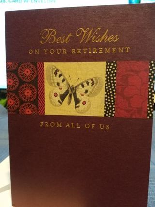 """BEST WISHES ON YOUR RETIREMENT FROM ALL OF US"", CARD W/ ENVELOPE"