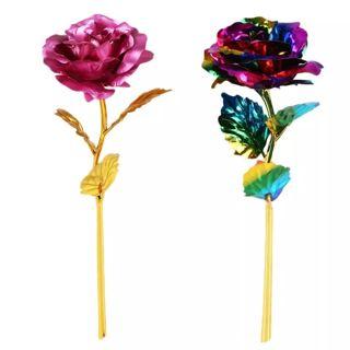 24K Gilded Golden Rose Artificial Flowers Gold Foil Plated Fake Flower Festive