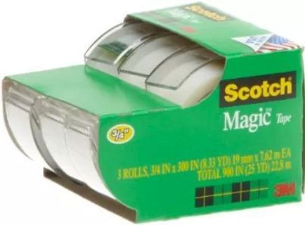 Scotch Tape, 3/4 x 300 Inches A Roll, 3 Rolls with Dispenser