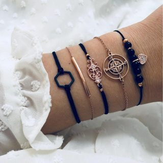 5 Pcs/set Bohemian Compass Flower Heart Bracelet Sets for Women Weave Rope Chain Geometry Bracelets
