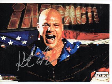 5x7 signed photo of WWE star Kurt Angle