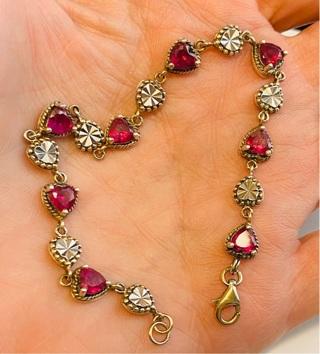 Vintage Real Sterling Silver Red Heart Bracelet ( Valentines Day Just Around The Corner)