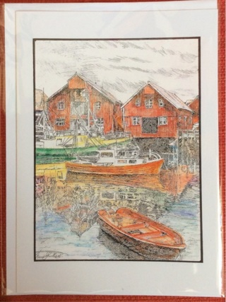 """FJORD HARBOR - 5 x 7"""" art card by artist Nina Struthers - GIN ONLY"""