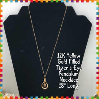 """14KT Yellow Gold Filled Tiger's Eye Pendulum Style Necklace 18"""""""