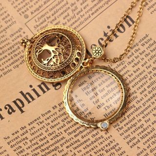 TN$High Quality Vintage Magnifying Glass Pendant Necklace Life Tree Pocket Watch Time collar collier