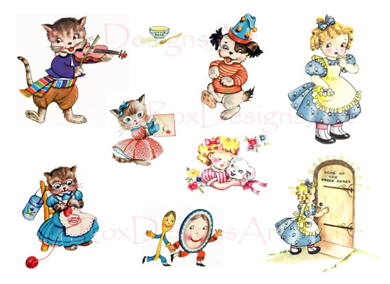 Free 50s Nursery Rhyme Art Collage Sheet 4 Hey Diddle Three Little Kittens Goldilocks Sbooking Paper Crafts Listia Auctions For