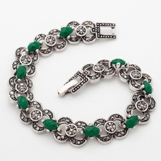 [GIN FOR FREE SHIPPING] Bohemian Ethnic Jewelry Silver Color Bracelet Green Stones