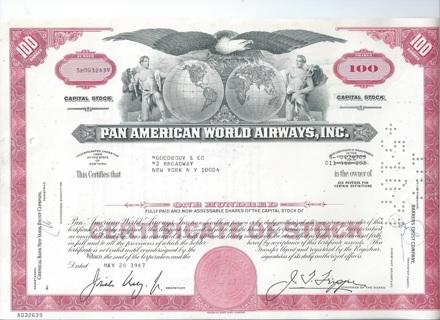 Pan American PanAm World Airways stock certificate 1967 red 100 share variety