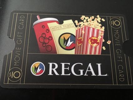 $10 Regal movie theater gift card ~ digital delivery or mailed WINNER'S CHOICE