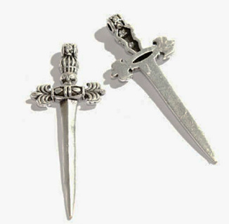 Antiqued Tibetan Silver Gothic Sword Dagger Pendant Charm for Necklace, Jewelry, Crafts, 40mm x 15mm