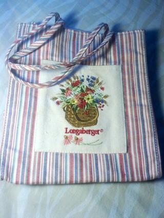 Like NEW Longaberger Homestead Fabric Tiny Tote Market Stripe Purse