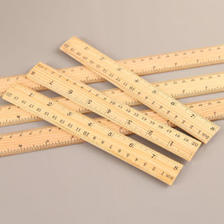 2Pcs Wooden Ruler Double Sided Photography Props Student School Office Measuring Tool