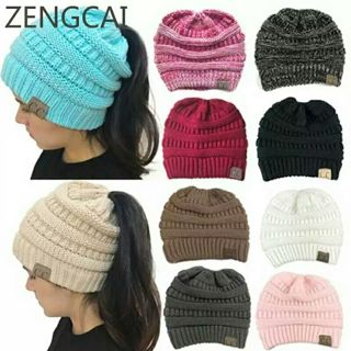 CC Ponytail Beanie Winter Hats For Women Crochet Knit Cap Skullies Beanies Warm Caps Female Knitted