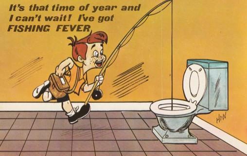 Vintage Unused Postcard: Fishing Fever, Little Boy and Toilet