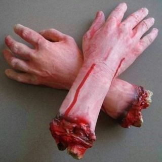 Bloody Horror Scary Halloween Prop Fake Severed Lifesize Arm Hand Haunted