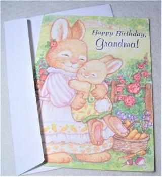Bunny Birthday Card and Envelope for Grandma