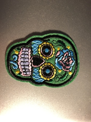 Iron-On/Sew-On Green Skull Patch