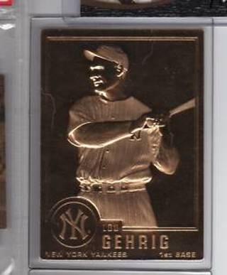 Free 22kt Gold Lou Gehrig Baseball Card Mint Condition Sealed In