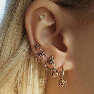 4 Pcs / Set Bohemian Retro Alloy Round Earrings Female Gold Geometric Crystal Earrings Jewelry Party